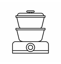 Double boiler icon outline style vector