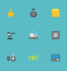 Flat icons strongbox money box remote paying and vector