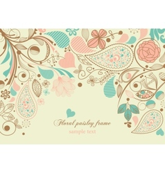floral paisley frame vector image vector image