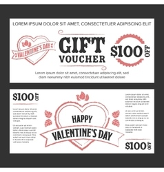 Gift voucher Valentines day vector image vector image