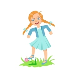 Girl walking on lawn grass breaking flowers vector