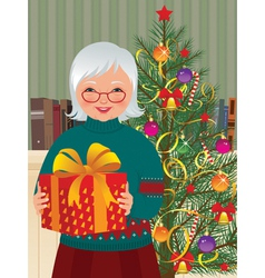 Grandmother and Christmas gift vector image vector image