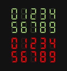 Green and red digital numbers set vector