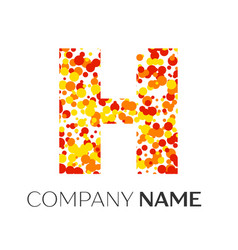 Letter h logo with orange yellow red particles vector