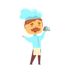 Male chef cook character in uniform holding vector