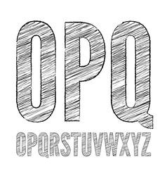 Pencil sketched font vector image vector image