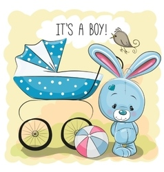 Rabbit with baby carriage vector image