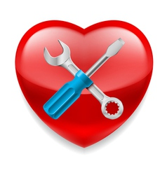 Red heart with tools vector image vector image