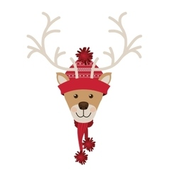 Reindeer head with christmas woolen hat red vector