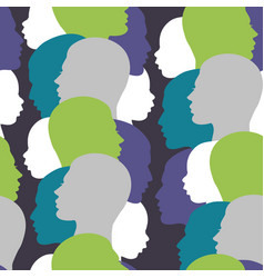 seamless pattern with colorful family silhouette vector image vector image