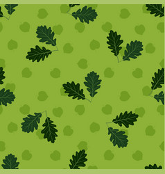 seamless pattern with hand drawn oak leaves on vector image vector image