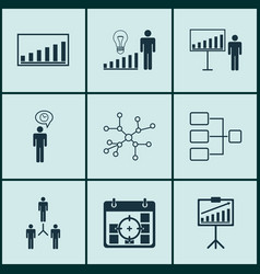 Set of 9 board icons includes system structure vector