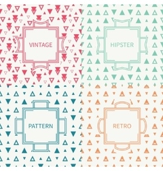 Set of mono line polygon hipster seamless pattern vector image