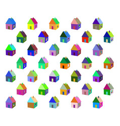 small colored houses vector image