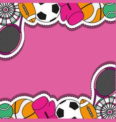 Sport patches sticker background design vector