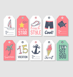 Summer beach vacation tags collection vector