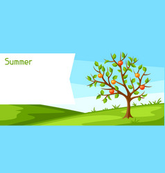 Summer landscape with green tree and apples vector