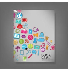 template design with social network icons vector image vector image