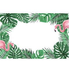 tropical border frame with jungle leaves flamingos vector image vector image