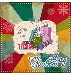 Vintage Christmas Card Merry Christmas lettering vector image vector image
