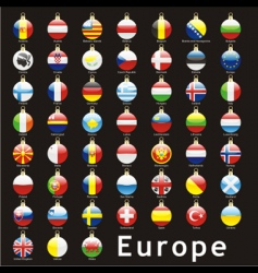 Christmas bulbs europe flags vector