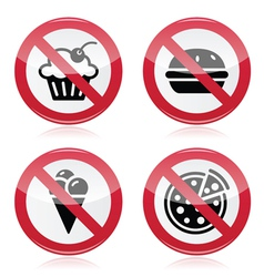 No fast food no sweets warning red sign vector
