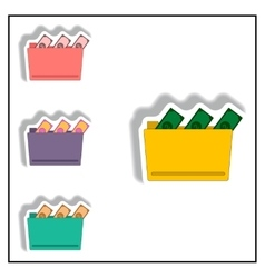 Folder and cash collection in vector