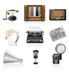 communication icons retro style vector image