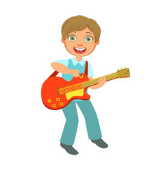 Boy playing electric guitar kid performing on vector
