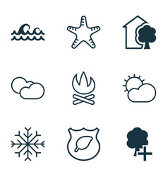 Set of 9 ecology icons includes ocean wave guard vector