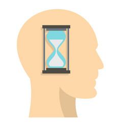 sandglass inside a man head icon isolated vector image