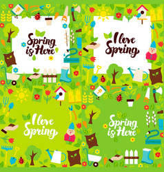 Spring garden lettering posters vector