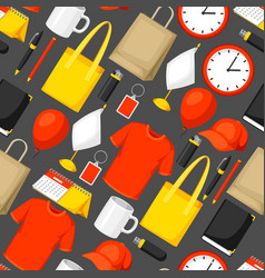 Seamless pattern with promotional gifts and vector
