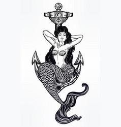 artwork of mermaid girl sitting on anchor vector image