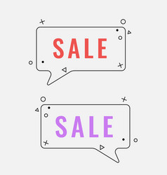 Simple sale square speech bubbles with geometric vector