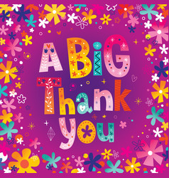A big thank you greeting card vector
