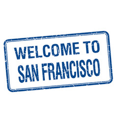 Welcome to san francisco blue grunge square stamp vector