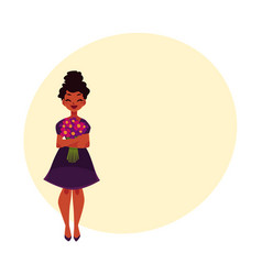 Black african american woman girl holding bunch vector