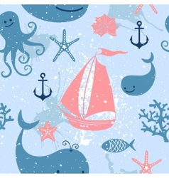 Seamless pattern with cute whales sailing vector