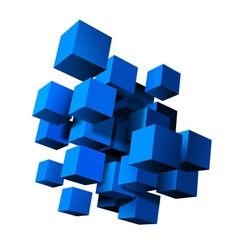 Composition of blue 3d cubes vector