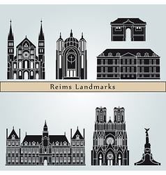Reims landmarks and monuments vector