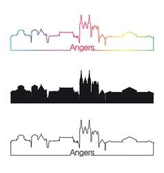 Angers skyline linear style with rainbow vector