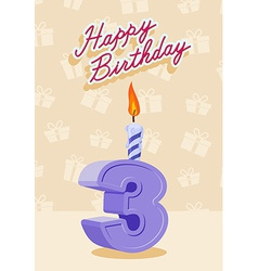 3 year happy birthday card vector
