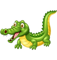 Cartoon crocodile with a happy face and a happy re vector