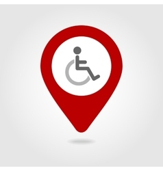 Wheelchair map pin icon vector