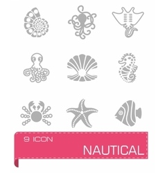 Marine life icon set vector