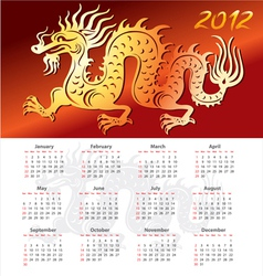 Calendar 2012 year with dragon vector