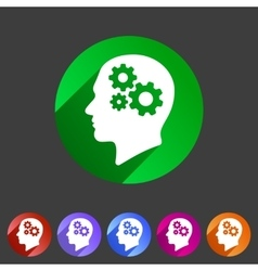 Head think idea gear icon flat web sign symbol vector