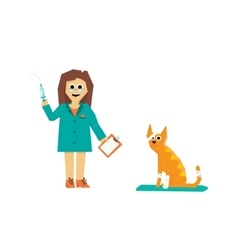 Cartoon veterinarian with a cat vector