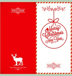Merry Christmas and Happy New Year Invitation vector image